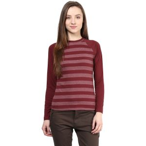 Hypernation Striped Women Round Neck T-shirt_hypw0607