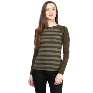 Hypernation Striped Women Round Neck T-shirt_hypw0609