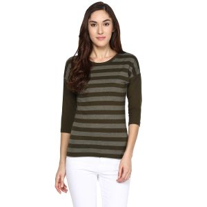 Hypernation Striped Women Round Neck T-shirt_hypw0611