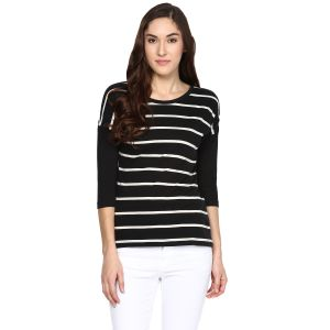 Hypernation Striped Women Round Neck T-shirt_hypw0612