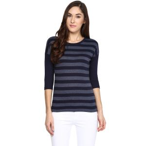 Hypernation Striped Women Round Neck T-shirt_hypw0613