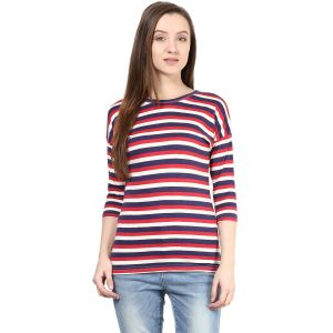 Hypernation Striped Women Round Neck T-shirt_hypw0618