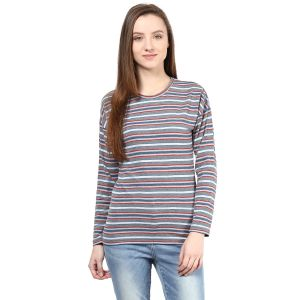 Hypernation Striped Women Round Neck T-shirt_hypw0619