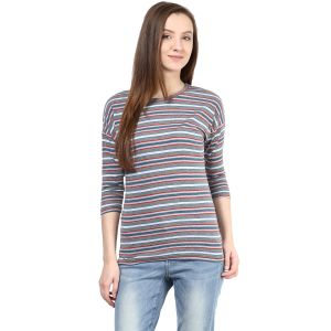 Hypernation Striped Women Round Neck T-shirt_hypw0620