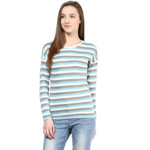Hypernation Striped Women Round Neck T-shirt_hypw0621