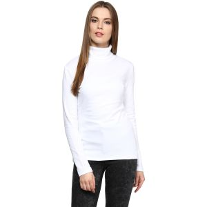 Hypernation Solid Women High Neck T-shirt_hypw0629