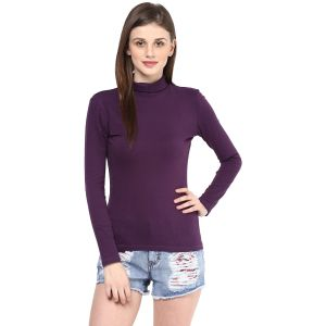 Hypernation Solid Women High Neck T-shirt_hypw0721