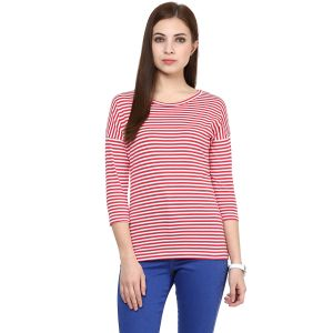 Hypernation Striped Women Round Neck T-shirt