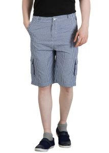 Hypernation Blue And White Check Three Fourth For Men. Made By Cotton