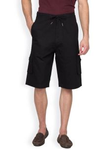 Shorts (Men's) - Hypernation Black Twill Casual Three Fourth For Men