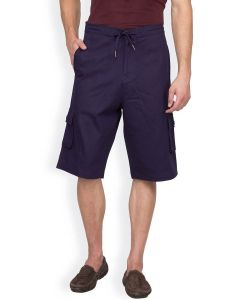 Hypernation Navy Blue Color Casual Three Fourth For Men