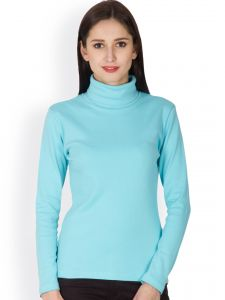 Hypernation Aqua Color High Neck T-shirt For Women Made In Cotton