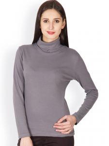 Hypernation Steel Grey High Neck T-shirt For Women Made In Cotton