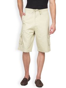 Hypernation Beige Color Casual Three Fourth For Men