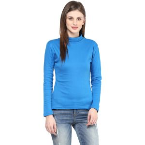 Hypernation Solid Women High Neck T-shirt_hypw0722