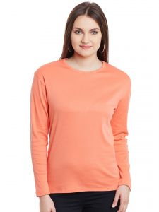 Hypernation Coral Long Sleeves Round Neck Cotton T-shirt Hypw0976