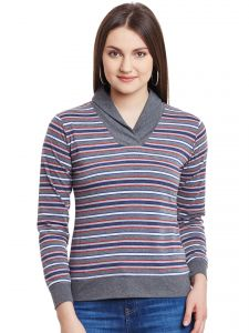 Hypernation Grey Multicolor Off Shoulder Cotton Top Hypw0995