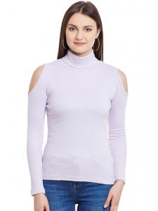 Hypernatioln Lilac Cold Shoulder High Neck Cotton Top Hypw0994