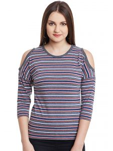 Hypernation Gray Multicolor Stripe Cold Shoulder Round Neck Cotton Top Hypw0984