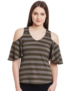 Hypernation Military Green Stripe V-neck Cotton Top Hypw0969