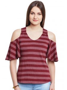 Hypernation Maroon Stripe Cold Shoulder V-neck Cotton Top Hypw0967