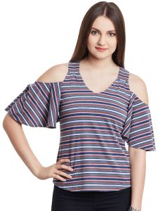 Hypernation Gray Multicolor Stripe Cold Shoulder V-neck Cotton Top Hypw0966