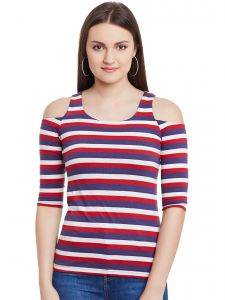 Hypernation Red Multicolor Stripe Cold Shoulder U-neck Cotton Top Hypw0964