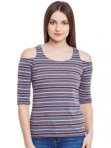 Hypernation Gray Multicolor Stripe Cold Shoulder U-neck Cotton Top Hypw0960