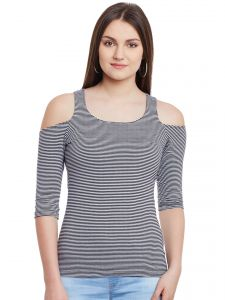 Hypernation Black White Stripe Cold Shoulder U-neck Cotton Top Hypw0959