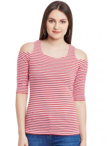 Hypernation Red White Stripe Cold Shoulder U-neck Cotton Top Hypw0958