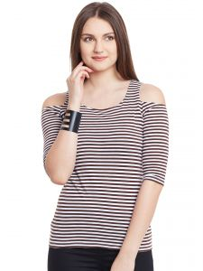 Hypernation Brown White Stripe Cold Shoulder U-neck Cotton Top Hypw0957