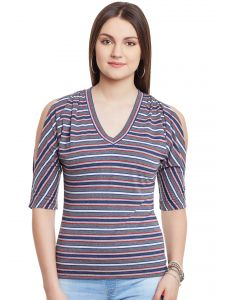 Hypernation Gray Multicolor Stripe Cold Shoulder V-neck Cotton Top Hypw0955