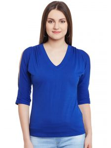 Hypernation Royal Blue Cold Shoulder V-neck Cotton Top Hypw0952