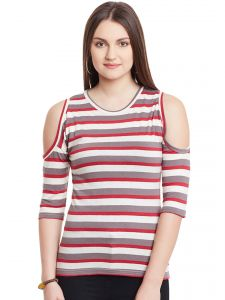 Hypernation Red Brown White Stripe Cold Shoulder Round Neck Cotton Top Hypw0951