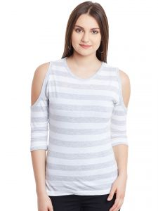 Hypernation White Gray Stripe Cold Shoulder Round Neck Cotton Top Hypw0947
