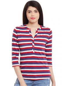 Hypernation Red Multicolor Stripe V-neck Front Open Top Hypw1007