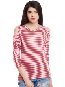 Hypernation Red White Stripe Cold Shoulder Top Hypw1005