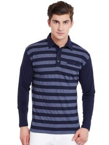 Hypernation Mens Navy Blue Stripe Regular Fit Polo T Shirt With Plain Navy Collar And Sleeves
