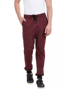Hypernation Mens Maroon Drop Crotch Jogger Pant With Elastic On Waist And Black Rib On Bottom