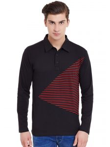 T Shirts (Men's) - Hypernation Black Full Sleeves Polo T-Shirt With Red Stripe