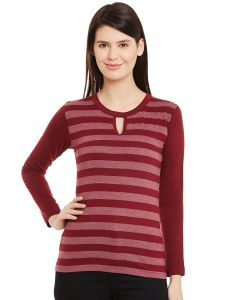 Hypernation Womens Maroon Pink Stripe Key Hole Round Neck Cotton Top Hypw01084