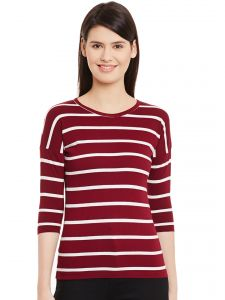 Hypernation Womens Maroon Ecru Stripe 3/4th Sleeves Round Neck T-shirt Hypw01093