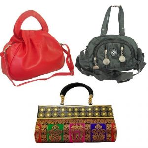 Casual Bags - Estoss Set of 3 Handbag Combo - 1 Red Handbag, 1 Black Sling Bag and 1 Multicolor Party Clutch HCMB2010