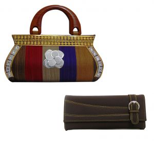 Kiara,Flora,Triveni,Valentine,Estoss,Surat Tex,Avsar Handbags - Estoss Multicolor Clutch and Brown  Wallet Combo of 2