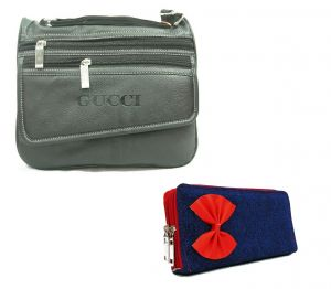 Estoss Black Multi-pocket Sling Bag And Blue Denim Pouch Clutch Combo Of 2