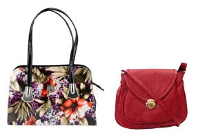Jagdamba,Clovia,Sukkhi,Estoss,The Jewelbox,Triveni,Surat Tex Handbags - Estoss Multicolor Handbag and Maroon Sling Bag Combo of 2