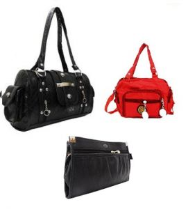 Estoss,Bagforever Handbags - Estoss  Black Multi-Pocket Handbag and Black Multi-Pocket Sling Bag Combo of 3