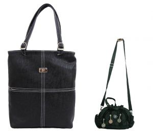 Kiara,Port,Surat Tex,Estoss,Valentine Handbags - Estoss Buy 1 Get 1 - Black Handbag and Black Multi-Pocket Sling Bag Combo of 3