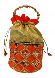 triveni,platinum,jagdamba,ag,estoss,port,Triveni Apparels & Accessories - Estoss Orange Potli - MEST6330