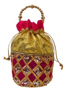 triveni,platinum,port,mahi,clovia,estoss,see more Apparels & Accessories - Estoss Pink Potli - MEST6331